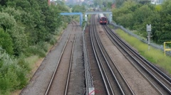 Train approaching from the city Stock Footage