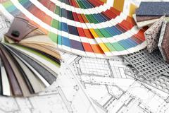 Palette of colors designs for interior works, samples of plastics, PVC, for f Stock Photos