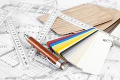 color samples of architectural materials - plastics,  metric folding ruler, p - stock photo