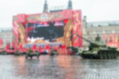 Parade on Red Square in Moscow blur background Stock Photos