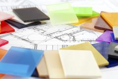 color samples of architectural materials - plastics,  and architectural drawi - stock photo