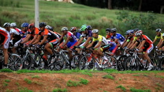 Cycling Event - Bauru, Sao Paulo, Brazil. Large Group Of Competing Cycle Racers. Stock Footage
