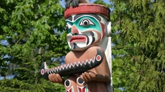 Magic Totem Pole - 05 - American Indian - Wood Carving Stock Footage