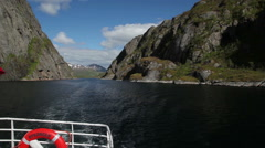 Boating in Trollfjorden Lofoten Stock Footage