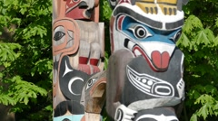 Magic Totem Pole - 06 - American Indian - Wood Carving Stock Footage