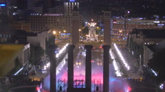 Beautiful night time water show at the Magic Fountain in Barcelona Stock Footage