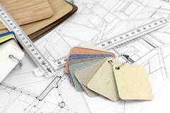 color samples of architectural materials - plastics, metric folding ruler and - stock photo