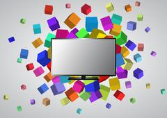 illustration of television with colorful abstract cubes - stock illustration