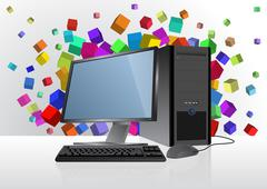 illustration of tech device with colorful abstract cubes - stock illustration