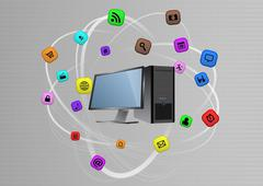 illustration of desktop computer with multimedia graphic - stock illustration