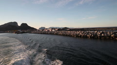 Leaving Lofoten by ferry at night Stock Footage