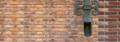 Brown brick wall with shod decor panoramic Stock Photos