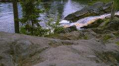View on rapids of raging river - stock footage
