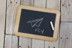 Small blackboard with white chalk Stock Photos