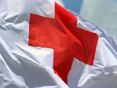 Red cross flag Stock Footage