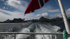 Departure from Lofoten Islands by boat Stock Footage