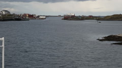 Leaving Rost Lofoten by boat Stock Footage