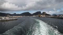 Leaving Vaeroy Lofoten by boat Stock Footage