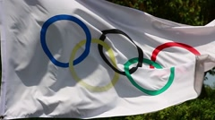Olympic flag in the wind Stock Footage