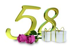 Fifty-first birthday concept with pink roses - 58th Stock Illustration