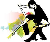 Latino Dancing couple Stock Illustration