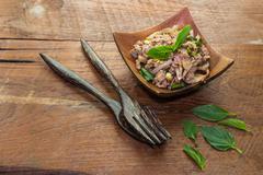 Spicy minced meat salad, laab moo thai food Stock Photos
