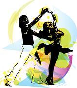 Latino Dancing couple - stock illustration