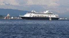 Ocean Liner Ship - Pacific Ocean - Vancouver - 02 - Close Stock Footage