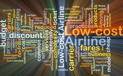 Low-cost airline background concept glowing Stock Illustration