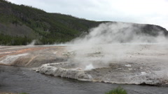 Stock Video Footage of Firehole River active bubbler geysers Yellowstone 4K