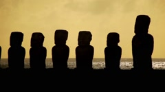Easter Island Statue Silhouette 01 HD Stock Footage