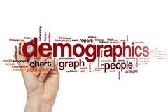 Demographics word cloud Stock Photos