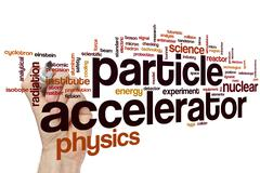 Particle accelerator word cloud Stock Photos