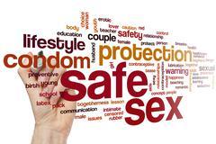 Safe sex word cloud Stock Photos