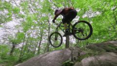 Mountain Bike Downhill Racing - Rocky Terrain riding Stock Footage