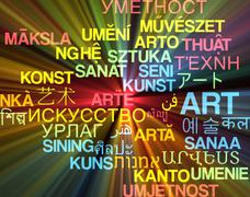 Stock Illustration of Art multilanguage wordcloud background concept glowing