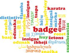 Badge multilanguage wordcloud background concept Stock Illustration
