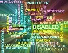 Disabled multilanguage wordcloud background concept glowing Stock Illustration