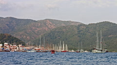 Turkey, Marmaris: many ships and yachts in the bay of Marmaris Stock Footage