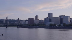 Establishing Shot Of Portland, Oregon City Skyline (4K) Stock Footage