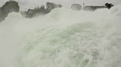CU Torrential Falls on Rhine River Stock Footage