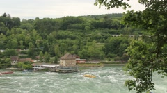 Rhine River tourist Area with Rapids Stock Footage