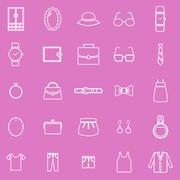 Dressing line icons on pink background Stock Illustration