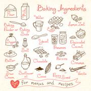 Set drawings of baking ingredients for design menus, recipes - stock illustration