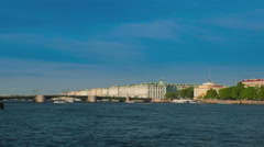 View Winter Palace in Saint Petersburg from Neva river. Stock Footage