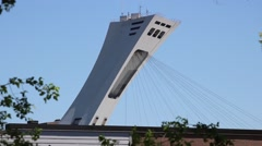 Montreal Olympic Stadium Tower Funicular Up Stock Footage