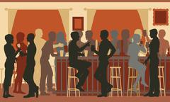 Busy evening bar - stock illustration