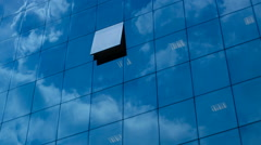 Timelapse Of Clouds Reflected In Corporate Office Building Stock Footage