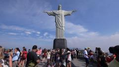Tourists Taking Photos at Christ the Redeemer Statue, Rio de Janeiro, Brazil Stock Footage