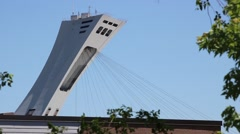 Montreal Olympic Stadium Tower Funicular Down Stock Footage